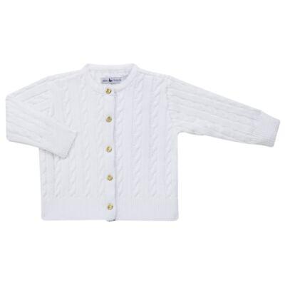 Imagem 1 do produto Casaquinho para bebe em tricot trançado Branco - Mini Sailor - 75404260 CASAQUINHO BASICO TRANÇADO TRICOT BRANCO -1