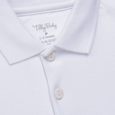 Imagem 2 do produto Body Polo curto para bebe em suedine Branco - Tilly Baby - TB13120.01 BODY POLO MC SUEDINE BRANCO -M