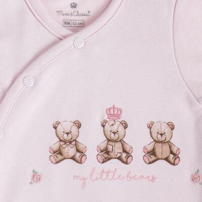 """Imagem 3 do produto Macacão longo c/ abertura """"S"""" para bebe em algodão egípcio Princess Bear - Mini & Classic - 2004655 MACACAO S C/ PE REVERSIVEL SUEDINE URSA-P"""