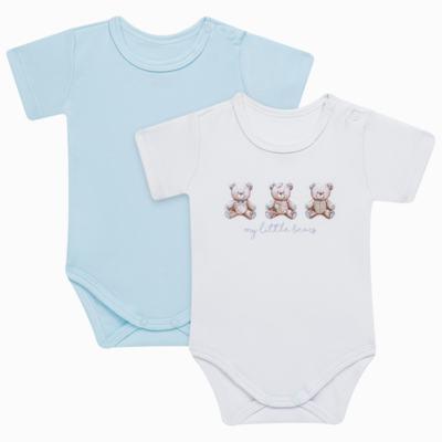 Imagem 1 do produto Pack: 02 Bodies curtos para bebe em algodão egípcio c/ jato de cerâmica Prince Bear - Mini & Classic - 1024656 PACK 2 BODIES MC SUEDINE URSO -RN