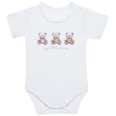 Imagem 3 do produto Pack: 02 Bodies curtos para bebe em algodão egípcio c/ jato de cerâmica Prince Bear - Mini & Classic - 1024656 PACK 2 BODIES MC SUEDINE URSO -RN