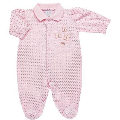 Imagem 1 do produto Macacão polo para bebe em malha Borboletas Poá - Tilly Baby - TB168645 MACACAO ML FEM POA BORBOLETAS-RN