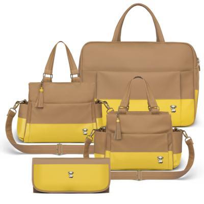 Imagem 1 do produto Mala Maternidade para bebe + Bolsa Genebra + Frasqueira Térmica Zurique + Trocador Portátil Due Colore Amarelo - Classic for Baby Bags