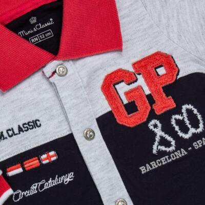 Imagem 2 do produto Macacão longo para bebe em algodão egípcio c/ jato de cerâmica Race - Mini & Classic - 2145668 MACACAO C/GOLA SUEDINE GRAND PRIX-RN
