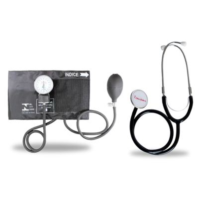 Imagem 1 do produto Kit Esteto Duplo com Aparelho de Pressão Preto Premium
