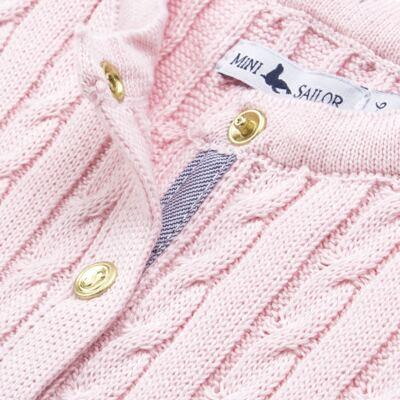 Imagem 2 do produto Casaquinho para bebe em tricot trançado Rosa - Mini Sailor - 75404264 CASAQUINHO BASICO TRANÇADO TRICOT ROSA BEBE-6-9