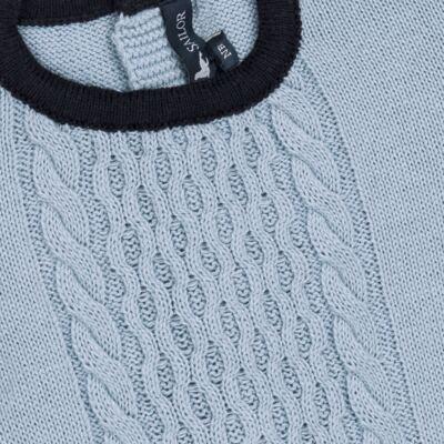 Imagem 2 do produto Macacão longo para bebe em tricot trançado Louis - Mini Sailor - 21774265 MACACAO COM TRANÇAS TRICOT AZUL BEBE-0-3