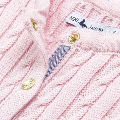 Imagem 2 do produto Casaquinho para bebe em tricot trançado Rosa - Mini Sailor - 75404264 CASAQUINHO BASICO TRANÇADO TRICOT ROSA BEBE-0-3