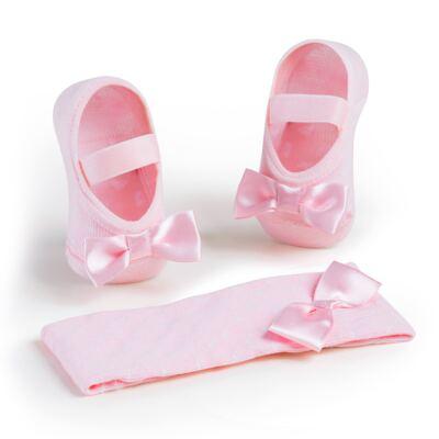 Imagem 1 do produto Kit Faixa de cabelo e meia sapatilha para bebe Laço Rosa - Puket - PK6934D-R KIT FAIXA DE CABELO + MEIA SAPATILHA ROSA BEBE-0/4