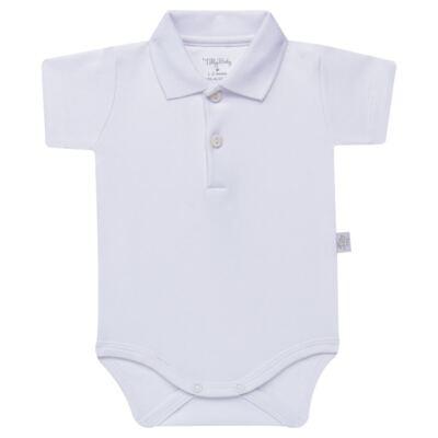 Imagem 1 do produto Body Polo curto para bebe em suedine Branco - Tilly Baby - TB13120.01 BODY POLO MC SUEDINE BRANCO -G