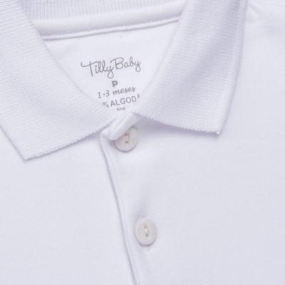 Imagem 2 do produto Body Polo curto para bebe em suedine Branco - Tilly Baby - TB13120.01 BODY POLO MC SUEDINE BRANCO -G