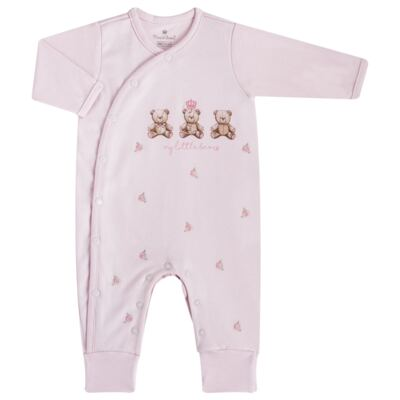 """Imagem 1 do produto Macacão longo c/ abertura """"S"""" para bebe em algodão egípcio Princess Bear - Mini & Classic - 2004655 MACACAO S C/ PE REVERSIVEL SUEDINE URSA-RN"""