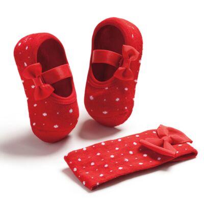 Imagem 1 do produto Kit Faixa de cabelo e meia sapatilha Laço Poá Vermelha - Puket - PK6934D-V Kit Faixa de Cabelo+ Meia Sapatilha Vermelho-5/8