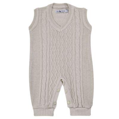 Imagem 1 do produto Macacão Pulôver para bebe em tricot Philippe - Mini Sailor - 16144267 JARDINEIRA C/ TRANÇA TRICOT CAQUI-3-6