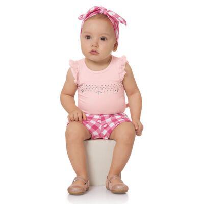 Imagem 2 do produto Body regata com Shorts balonê para bebe Peach - Time Kids - TK5054.RS CONJUNTO BODY E SHORTS XADREZ ROSA-P