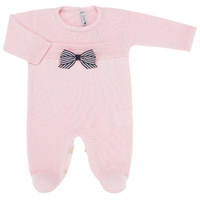 Imagem 1 do produto Macacão longo para bebe em tricot Rosa - Mini Sailor