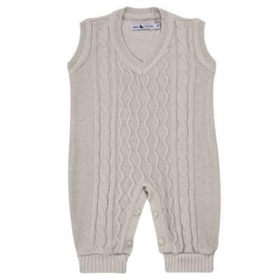 Macacão Pulôver para bebe em tricot Philippe - Mini Sailor - 16144267 JARDINEIRA C/ TRANÇA TRICOT CAQUI-0-3