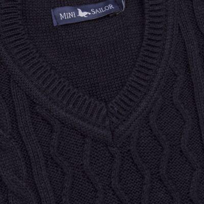 Imagem 2 do produto Macacão Pulôver para bebe em tricot George - Mini Sailor - 16144262 JARDINEIRA C/ TRANÇA TRICOT MARINHO -9-12
