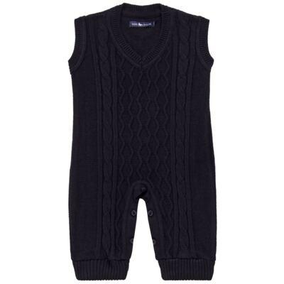 Imagem 1 do produto Macacão Pulôver para bebe em tricot George - Mini Sailor - 16144262 JARDINEIRA C/ TRANÇA TRICOT MARINHO -NB