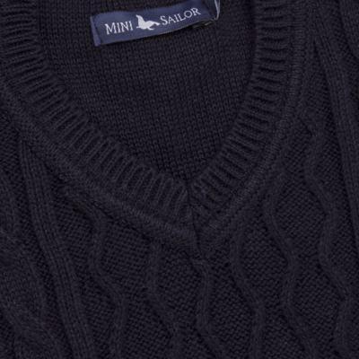 Imagem 2 do produto Macacão Pulôver para bebe em tricot George - Mini Sailor - 16144262 JARDINEIRA C/ TRANÇA TRICOT MARINHO -NB