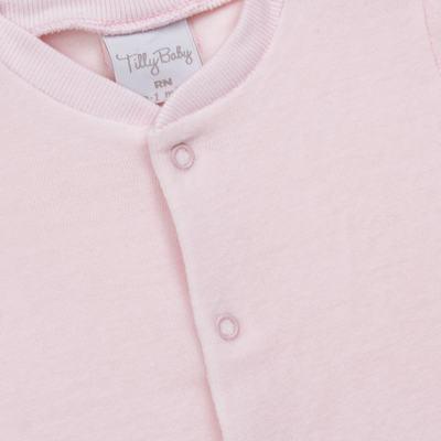 Imagem 2 do produto Macacão longo para bebe em plush Rosa - Tilly Baby - TB13172.10 MACACAO BASICO DE PLUSH ROSA-RN