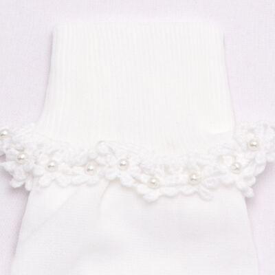Imagem 2 do produto Meia para bebê branca bordada Flores - Roana - 406-A Meia branca bordada Flores-RN