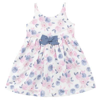 Imagem 1 do produto Vestido curto para bebe em tricoline Flourish - Mini Sailor - 14724440 VESTIDO C/LACO TRICOLINE FLORAL ROSA-6-9