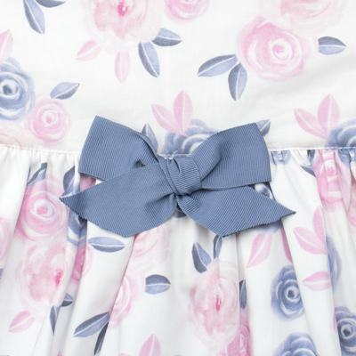Imagem 2 do produto Vestido curto para bebe em tricoline Flourish - Mini Sailor - 14724440 VESTIDO C/LACO TRICOLINE FLORAL ROSA-NB