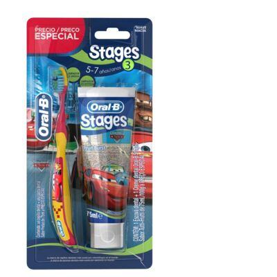 Imagem 1 do produto Kit Escova Dental Oral B + Creme Dental Stages
