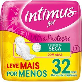 Absorvente Intimus Gel Tripla Protecao Cobertura Seca - Com Abas | 32 unidades | Leve Mais Pague Menos