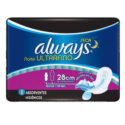 Imagem 1 do produto Absorvente Always Ultrafino Noite Seca com Abas 8 Unidades