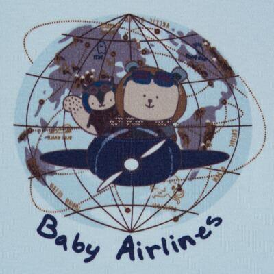 Imagem 3 do produto Regata com Cobre fralda em algodão egípcio Baby Airlines - Grow Up - 04070051.0003 RGTA C/ FRALDA AVIATOR AZUL-P