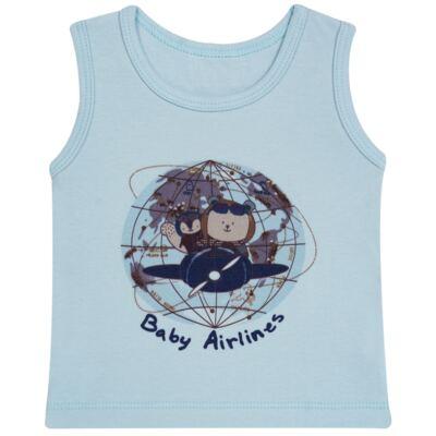 Imagem 2 do produto Regata com Cobre fralda em algodão egípcio Baby Airlines - Grow Up - 04070051.0003 RGTA C/ FRALDA AVIATOR AZUL-M