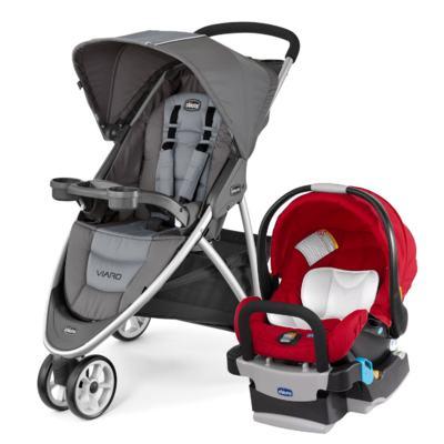Imagem 1 do produto Viaro Travel System: Carrinho de bebê Viaro Graphite + Poltrona Keyfit Red (0m+) - Chicco