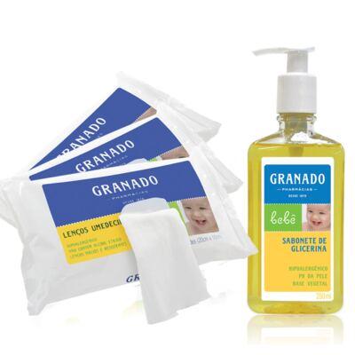 Imagem 1 do produto Kit com 1 Sabonete Líquido + 3 Lenços Umedecidos para bebê Tradicional - Granado