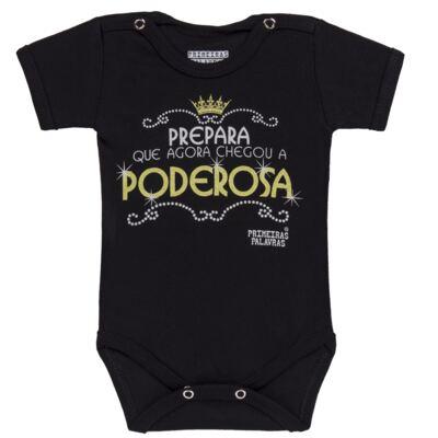 Imagem 1 do produto Body curto para bebe em suedine Poderosa - Primeiras Palavras - PP1508 BODY PODEROSA PRETO MC-RN