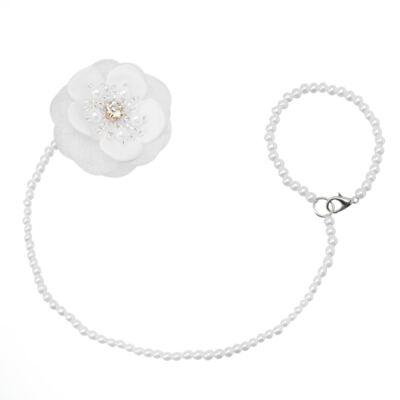 Imagem 1 do produto Prendedor de chupeta Flor & Pérolas Branco - Roana
