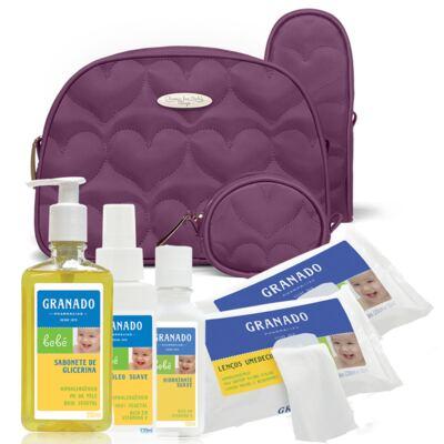 Imagem 1 do produto Kit Acessórios Corações Matelassê Vinho + Kit Granado Bebê - Classic For Baby Bags & Granado