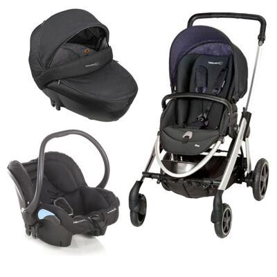 Imagem 1 do produto Travel System: Carrinho de bebê Elea Total Black + Moisés Windoo Plus Black Raven + Bebê Conforto Streety.fix Black Raven (0m+) - Bébé Confort