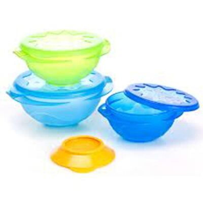 Imagem 2 do produto Conjunto 3 Tigelas Tampa e Ventosa Azul/Verde (9m+) - Sassy