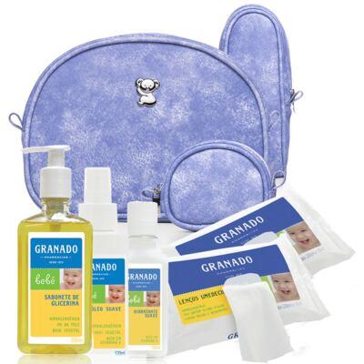 Imagem 1 do produto Kit Acessórios Délavé +  Lenços Umedecidos + Sabonete Líquido + Óleo Suave + Loção Hidratante Bebê Tradicional - Classic For Baby Bags & Granado