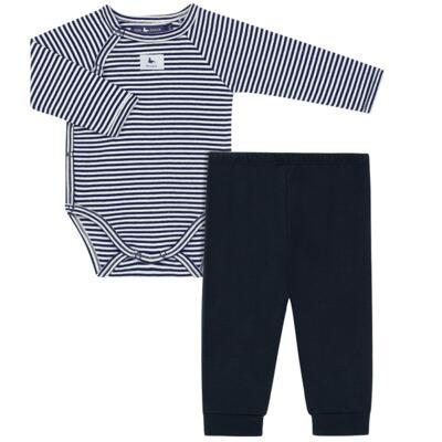 Imagem 1 do produto Body longo c/ Calça (mijão) em suedine StripesMarinho - Mini Sailor - 17234444 BODY S M/L C/MIJAO RIB/SUEDINE MARINHO-6-9