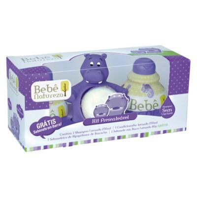 Imagem 1 do produto Kit Presenteável Hipopótamo: Shampoo + Condicionador + Sabonete + Saboneteira - Bebê Natureza