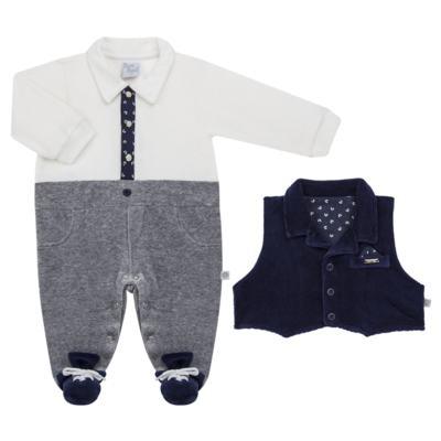 Imagem 2 do produto Macacão longo c/ Colete para bebe em plush Benicio - Beth Bebê - BB8919 Macacão Colete Benicio Azul-M