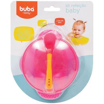 Imagem 1 do produto Kit Refeição: Bowl com tampa e Colher termossensível Rosa - Buba