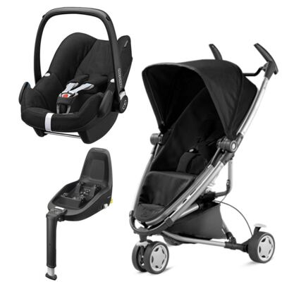 Travel System: Bebe Conforto Pebble Plus Maxi-Cosi + Base 2WayFix com sistema Isofix Black  Maxi-Cosi + Carrinho Zapp Xtra 2 Rocking Black Quinny