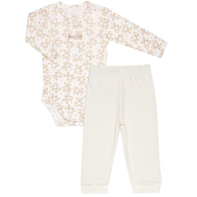 Imagem 1 do produto Body longo com Calça em algodão egípcio c/ jato de cerâmica e filtro solar fps 50 Nature Little Friend Bear - Mini & Kids - CJBM0001.18 CONJUNTO BODY M/L C/CALÇA - SUEDINE-G