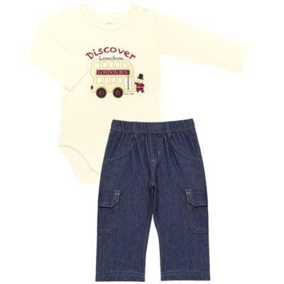 Imagem 1 do produto Body longo com Calça jeans fleece em algodão egípcio c/ jato de cerâmica e filtro solar fps 50 Little Guardians - Mini & Kids - CBC1304 BODY M/L C/ CALÇA SUEDINE LONDON BEAR-M