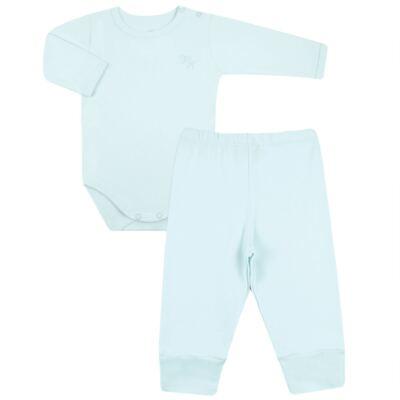 Imagem 1 do produto Body longo com Calça em algodão egípcio c/ jato de cerâmica e filtro solar fps 50 Azul - Mini & Kids - CS197 BODY ML C/ MIJÃO SUEDINE AZUL BB-M