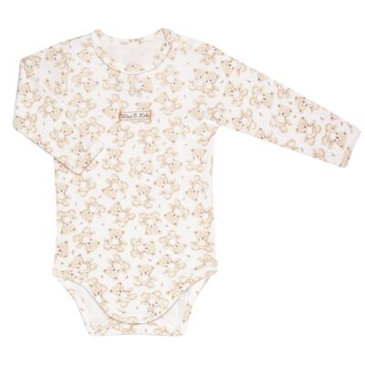 Imagem 2 do produto Body longo com Calça em algodão egípcio c/ jato de cerâmica e filtro solar fps 50 Nature Little Friend Bear - Mini & Kids - CJBM0001.18 CONJUNTO BODY M/L C/CALÇA - SUEDINE-P